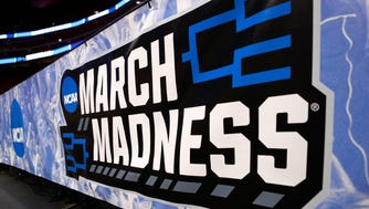 Mar 15, 2018; Detroit, MI, USA; A march madness banner near the court during the practice day before the first round of the 2018 NCAA Tournament at Little Caesars Arena. Mandatory Credit: Raj Mehta-USA TODAY Sports ORG XMIT: USATSI-378348 ORIG FILE ID:  20180315_szo_aa1_0008.JPG