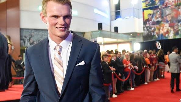 Daniel Carlson walking the red carpet at the ESPN College Football Awards in December at the College Football Hall of Fame in Atlanta. Carlson was named a first-team All-SEC selection by Athlon.