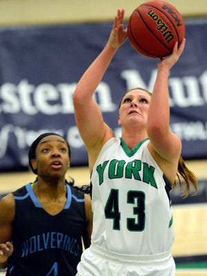Susquehannock grad Katie Wagner had 18 points Wednesday for York College.