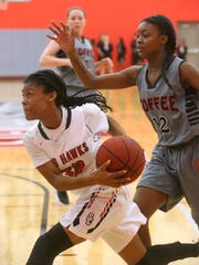 Stewarts Creek's Lauren Flower (20) pushes toward the basket for a shot as Coffee County's Alliyah Williams (12) guards her on Friday, Feb. 24, 2017 the quarterfinal round of Regional play.