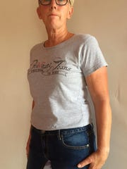 Margaret Meyer models a pair of Gravitate Jeans. She started the company with her husband, Bruce.