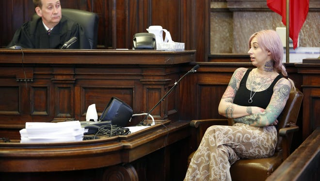 Brenna Gray, widow of Slipknot band member Paul Gray, testifies during the trial of Daniel Baldi in Polk County District Court Tuesday, April 22, 2014.