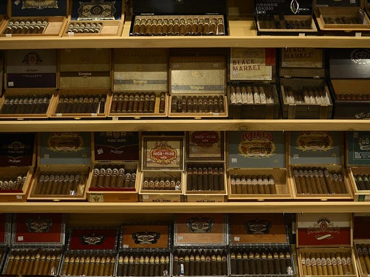 A variety of cigars inside the humidor at Prohibition Spirits and Cigar Lounge in downtown Green Bay.