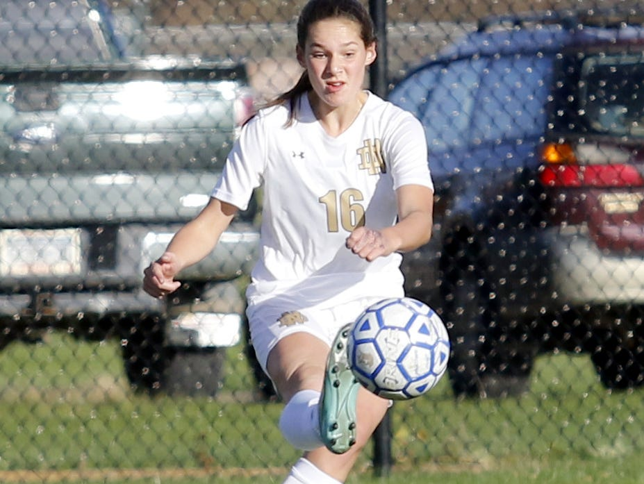 Notre Dame's Camille VanderMeer controls the ball Tuesday during a Section 4 Class C girls soccer semifinal at Brewer Memorial Stadium.