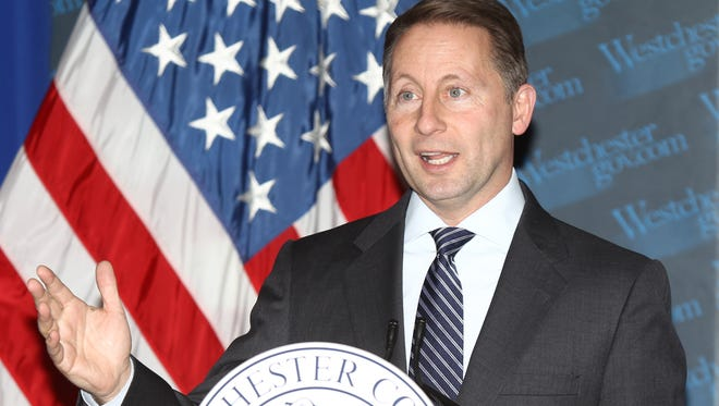 Westchester County Executive Rob Astorino gives a statement to the press about the impacts of the planned closing of Indian Point during a press conference at Westchester County Office Building in White Plains on January 6, 2017.