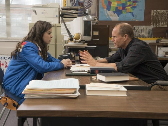 """Nadine (Hailee Steinfeld) turns to Mr. Bruner (Woody Harrelson) for advice after her life starts to spiral into chaos in """"The Edge of Seventeen."""""""