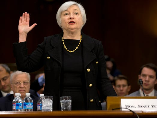 Janet Yellen, President Obama's nominee to become Federal Reserve Board chairman, is sworn in before testifying before the Senate Banking Committee on Nov.14 on Capitol Hill in Washington.
