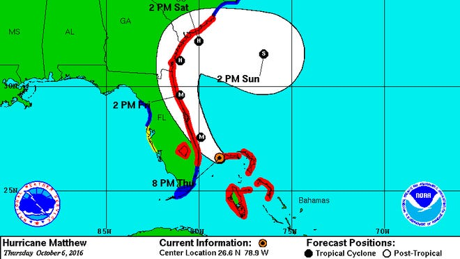 Hurricane Matthew forecast path, as of 8 p.m. Thursday, Oct. 6, 2016.