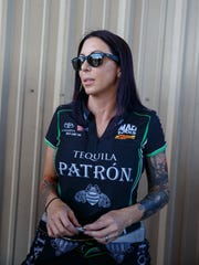 NHRA funny car driver Alexis DeJoria during the Mile High Nationals at Bandimere Speedway.
