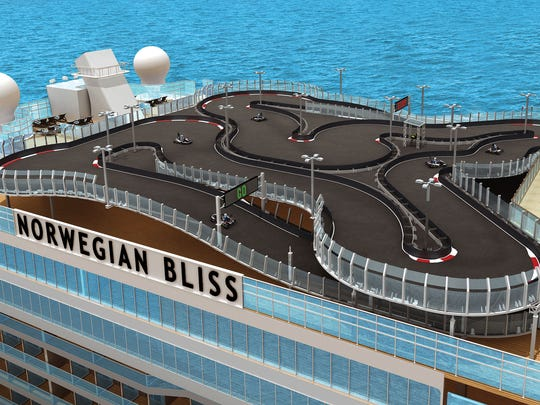 An ariel view of Norwegian Bliss and its state-of-the-art electronic car track.