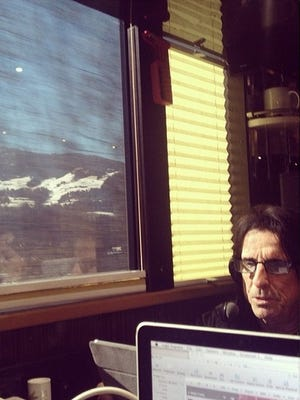 Alice Cooper, shown riding the rails on his way to a March 27 show in Germany, thinks Arizona is pretty grand.