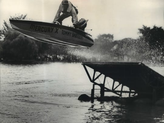 The Tommy Bartlett Water Ski & Jumping Boat Thrill Show takes to the air in the Washington Park lagoon on June 21, 1952. This photo appeared in the June 22, 1952, Milwaukee Journal.