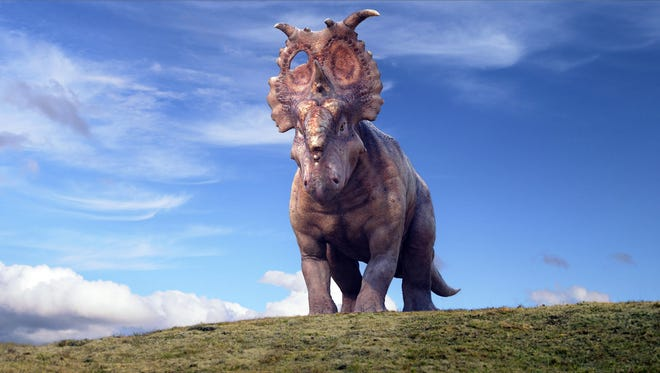 Patchi the Pachyrhinosaurus (voiced by Justin Long) as an adult in 'Walking With Dinosaurs.'