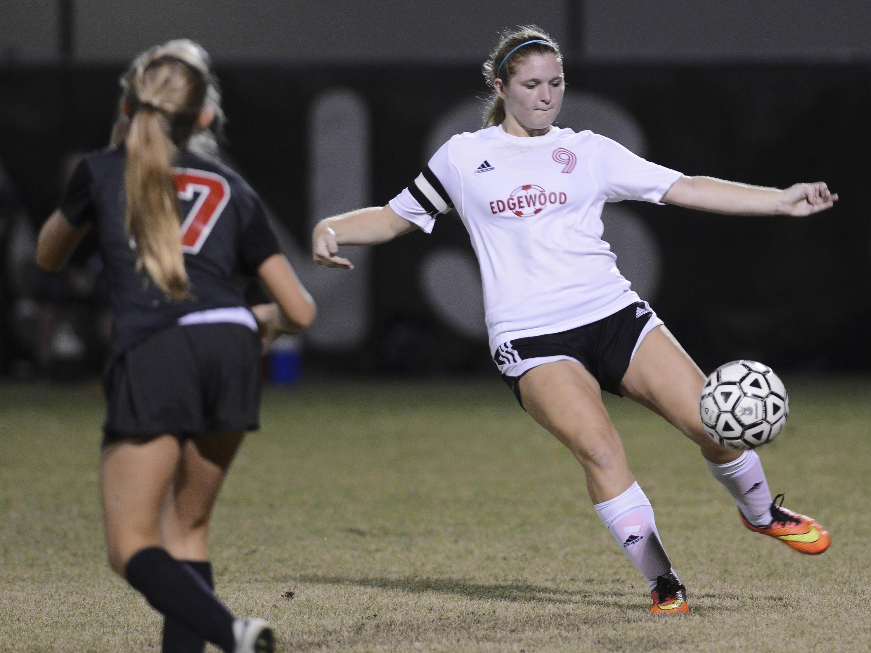 Edgewood's Meagan King sends the ball downfield during Wednesday's game against Satellite.