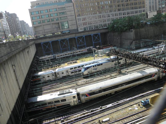 Trains enter and leave New York's Penn Station, which would be the end point for the proposed Gateway Tunnel.