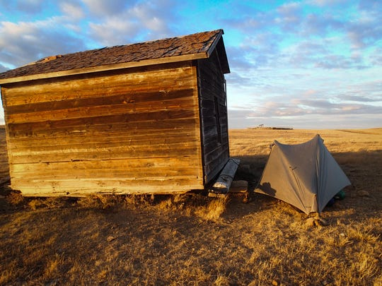 A rural ruin on the Montana prairie offered a windbreak as Ken Ilgunas trekked from Alberta to Texas following the proposed Keystone Pipeline route.