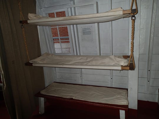 Passengers would have to be satisfied with these wood and canvas berths as they bedded down for the night on the canal boat. Photo taken at the Erie Canal Museum in Syracuse, N.Y. TheFrank Buchanan Thomson is a waterline reconstruction of a line boat, 65 feet long and 14 feet wide.