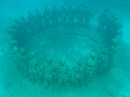 <strong>No. 8: Molinere Underwater Sculpture Park - Grenada.</strong> This manmade dive site began in 2006 and today comprises more than 50 life-size sculptures within one of Grenada&rsquo;s Marine Protected Areas. Divers can see firsthand the transition from art to artificial reef.