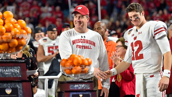 Wisconsin head coach Paul Chryst and quarterback Alex Hornibrook celebrate after defeating Miami in the Orange Bowl.