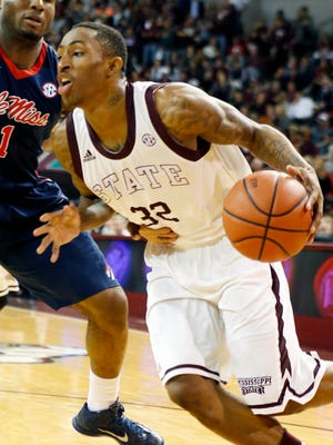 Mississippi State guard Craig Sword, shown in a Feb. 19 game against Ole Miss, scored his 1,000th career point Wednesday vs. Kentucky.