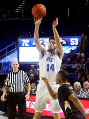 MTSU guard Chase Miller attempts a shot against Southern