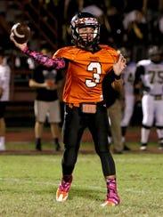 Nocona quarterback Jeremy James (3) is one of four