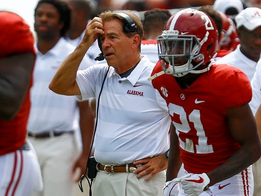 Alabama coach Nick Saban went easy on UL and his former assistant Billy Napier in a 56-14 Crimson Tide win Saturday.