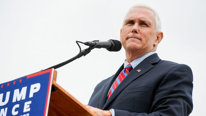 Republican vice-presidential nominee Indiana Gov. Mike Pence speaks at a rally on the Rockingham County Fairgrounds Wednesday, Oct. 5, 2016, in Harrisonburg, Va.
