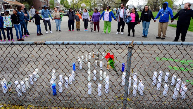 Family and friends gather at Girard Park to remember Oscar Cherry III, Wednesday, April 19, 2017. John A. Pavoncello photo
