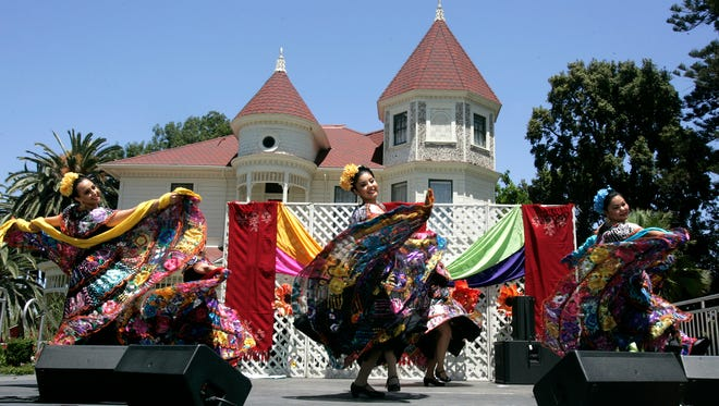 Dancers from Oxnard College's Ballet Folklorico Mestizo perform at the 13th annual Rebozo Festival at the Camarillo Ranch House. Proceeds from the event benefit local nonprofit charitable organizations.