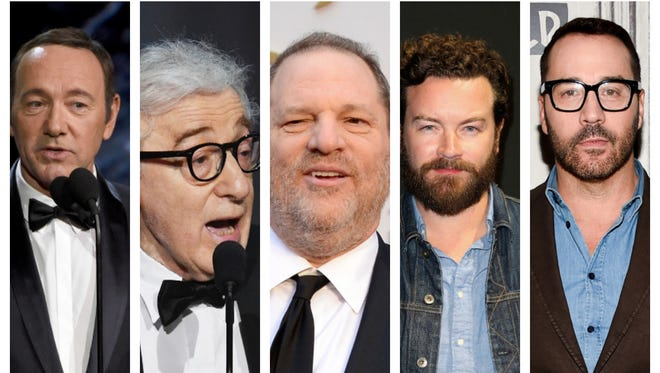 A collage of some of the Hollywood men accused of sexual misconduct over the years: Kevin Spacey, Woody Allen, Harvey Weinstein, Danny Masterson, Jeremy Piven.