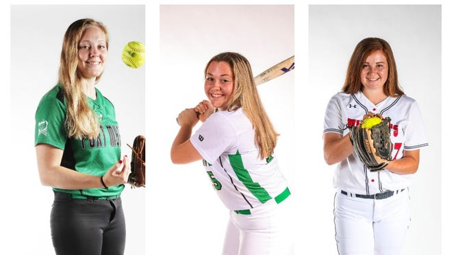 The finalists for The News-Press All-Area Softball Player of the Year are (from left) Hannah Perkins, Vivian Ponn, and Alex Salter.
