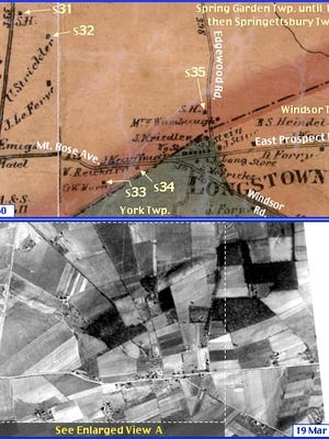 Area Near Longstown in what is now Springettsbury Township; from Shearer's 1860 Map of York County, PA & Penn Pilot Aerial Photo, from Mar. 19, 1938, of Same Area (Annotations by S. H. Smith, 2015)