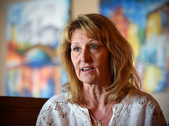 Reyne Roeder talks about her son Jackson Friday, May 25, at Old Capital Tavern in Sauk Rapids.