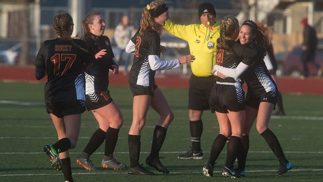 The Rocky Mountain High School girls soccer team, unbeaten entering play Tuesday, ranks No. 1 in 5A in RPI standings.