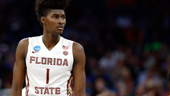 Mar 18, 2017; Orlando, FL, USA; Florida State Seminoles forward Jonathan Isaac (1) during the first half in the second round of the 2017 NCAA Tournament at Amway Center. Mandatory Credit: Kim Klement-USA TODAY Sports