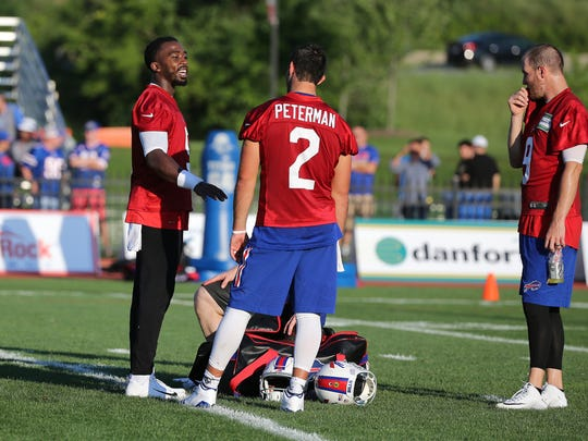 After the trade of quarterback Cardale Jones, the remaining Bills quarterbacks, from left, Tyrod Taylor, Nathan Peterman and T.J. Yates will be able to get more reps.