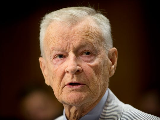 FILE - In this July 9, 2014 file photo, former National Security Adviser Zbigniew K. Brzezinski testifies on Capitol Hill in Washington, before the Senate Foreign Relations Committee hearing to examine Russia and developments in Ukraine. Brzezinski, the national security adviser to President Jimmy Carter, has died at age 89. His death was announced on social media Friday night, May 26, 2017, by his daughter, MSNBC host Mika Brzezinski.