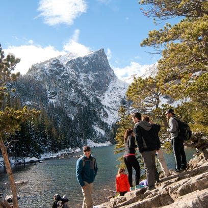 Dream Lake in Rocky Mountain National Park on a clear,