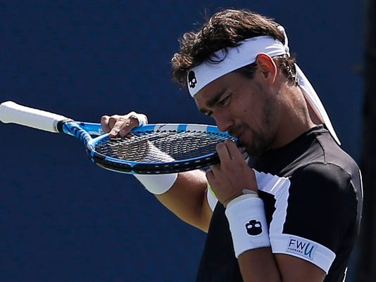 Fabio Fognini, of Italy, reacts after losing a point to Stefano Travaglia, of Italy, during the first round of the U.S. Open tennis tournament, Wednesday, Aug. 30, 2017, in New York. (AP Photo/Michael Noble)