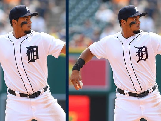 The Tigers' tweaked home jersey appears at right on third baseman Jeimer Candelario.