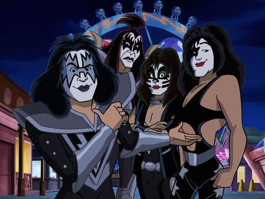 Kiss members Tommy Thayer, Gene Simmons, Eric Singer