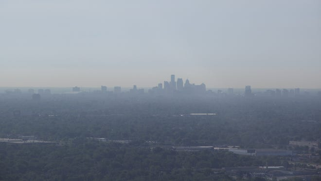 Aerial View of a Detroit skyline in 2012.