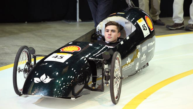 The Eco1, #45, Gasoline Prototype, competing for team EcoLancers from Livingston High School in New Jersey is seen during tech Inspection day of the Shell Eco-marathon Americas 2015 in Detroit, Mich.,