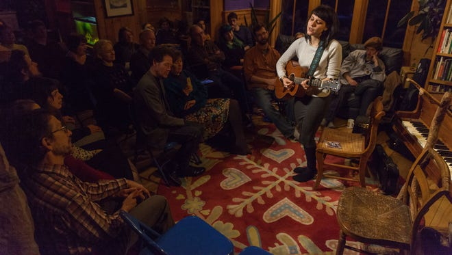 Hana Zara performs at a house concert hosted by Joplin and Alison James in Shelburne.