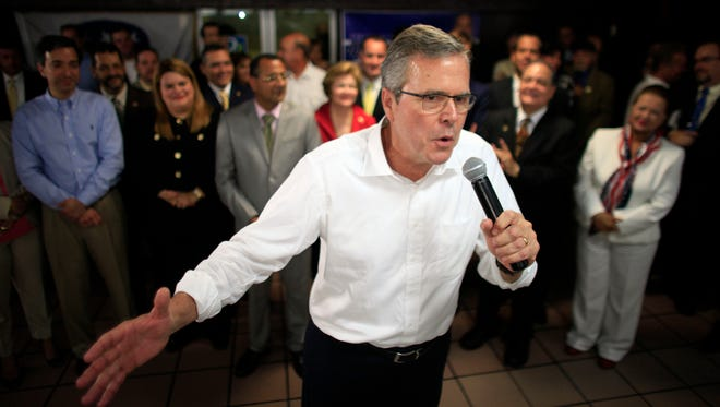 Jeb Bush speaks during a town hall meeting with Puerto Rico's Republican Party last month.