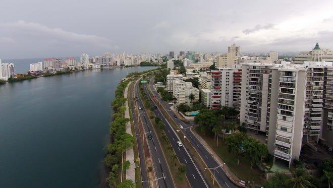 An aerial view of part of San Juan, Puerto Rico.