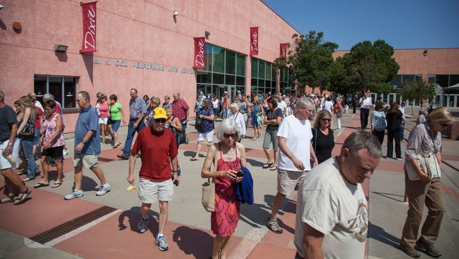 Crowds gather for a DOCUTAH screening of Prophet's Prey at the Cox Performing Arts Center at Dixie State University Saturday, Sept. 12, 2015.