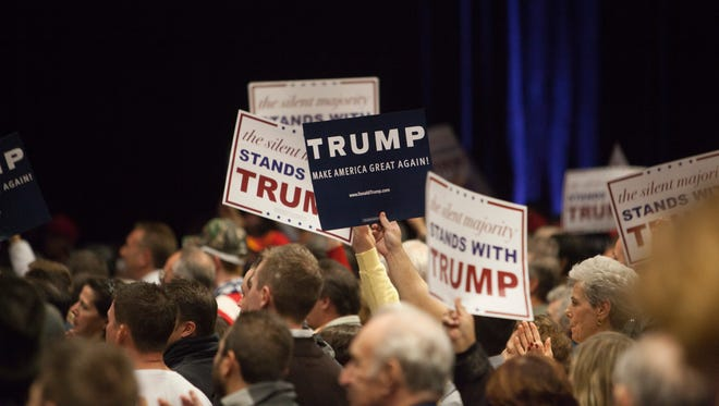 Presidential candidate Donald Trump addresses his supporters at a rally in Las Vegas Monday, Dec. 14, 2015.