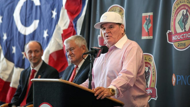 Pete Rose talks during Tuesday's press conference following the announcement of his induction to the Reds Hall of Fame.